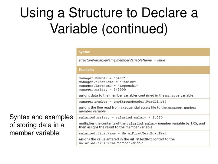 Using a Structure to Declare a Variable (continued)