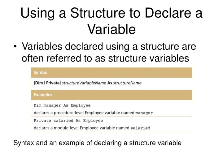 Using a Structure to Declare a Variable