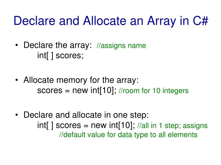 Declare and allocate an array in c