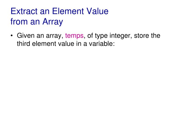 Extract an Element Value