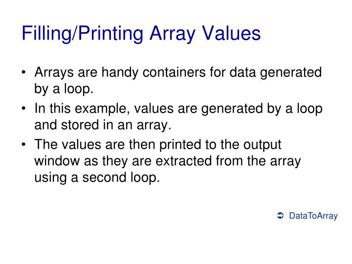 Filling/Printing Array Values