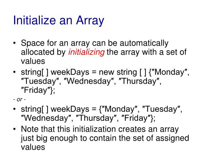 Initialize an Array