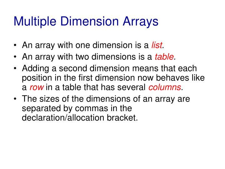 Multiple Dimension Arrays