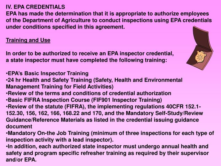 IV. EPA CREDENTIALS