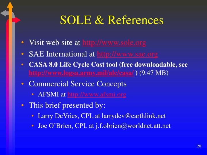 SOLE & References