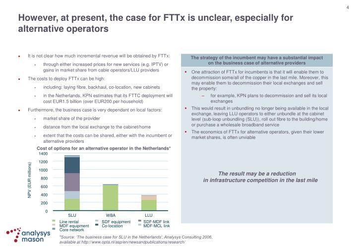 It is not clear how much incremental revenue will be obtained by FTTx: