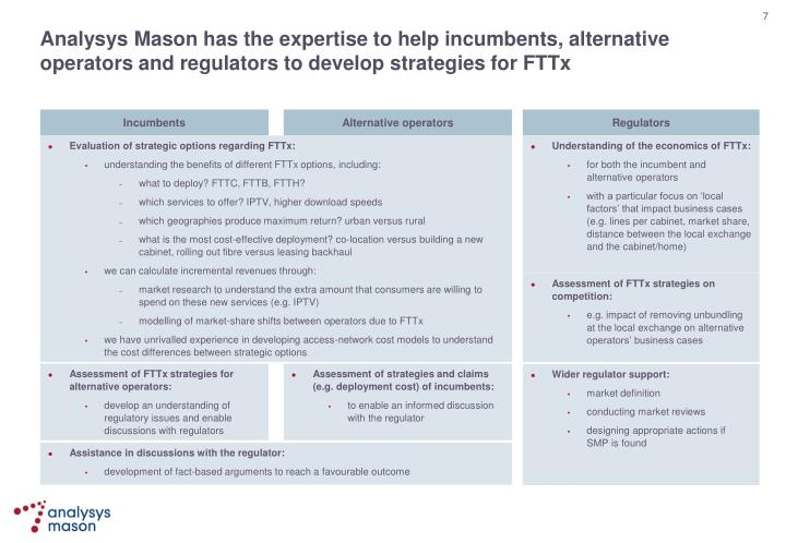 Analysys Mason has the expertise to help incumbents, alternative operators and regulators to develop strategies for FTTx