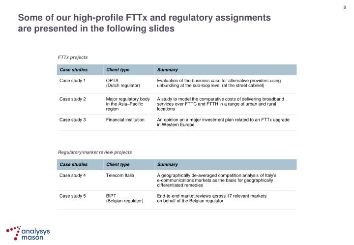 Some of our high-profile FTTx and regulatory assignments