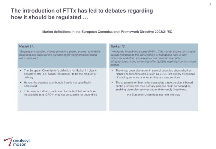 The introduction of FTTx has led to debates regarding
