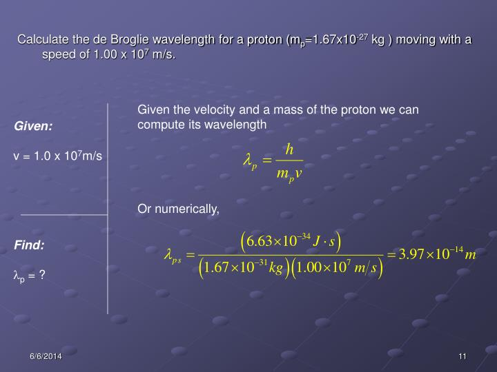 Calculate the de Broglie wavelength for a proton (m