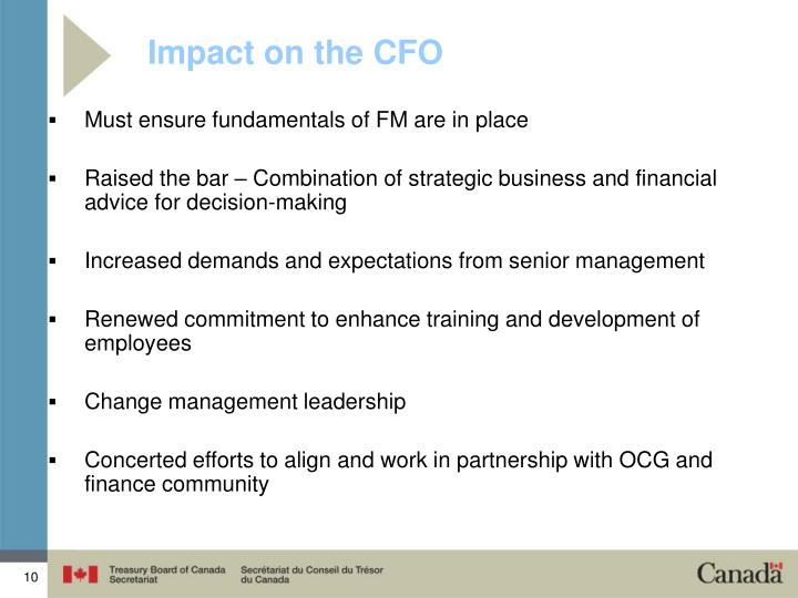 Impact on the CFO