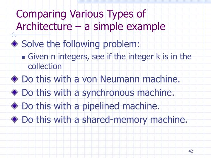 Comparing Various Types of Architecture – a simple example