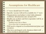 assumptions for healthcare