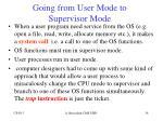 going from user mode to supervisor mode