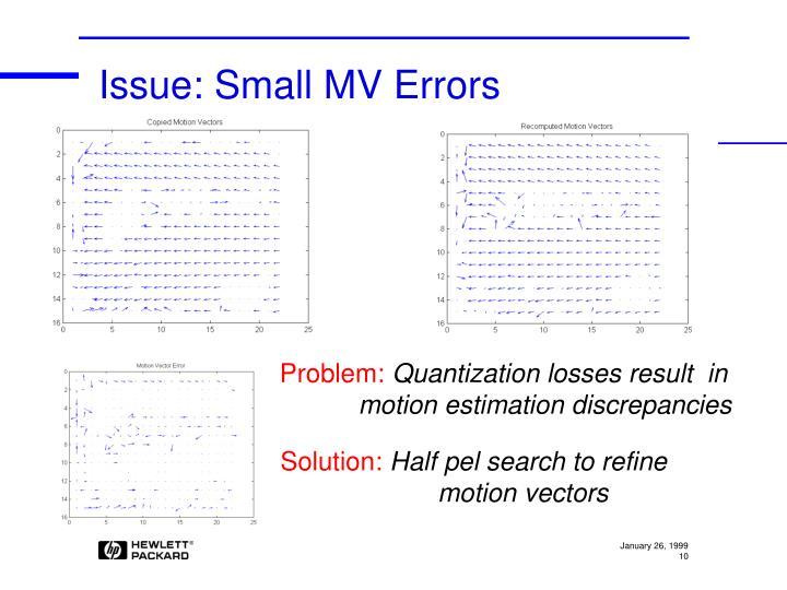 Issue: Small MV Errors