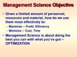 management science objective