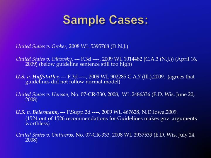 Sample Cases: