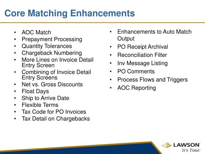 Enhancements to Auto Match Output