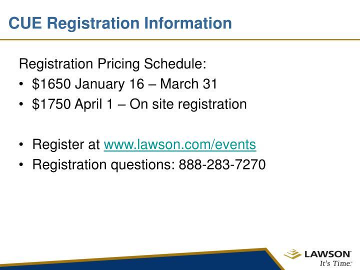 CUE Registration Information