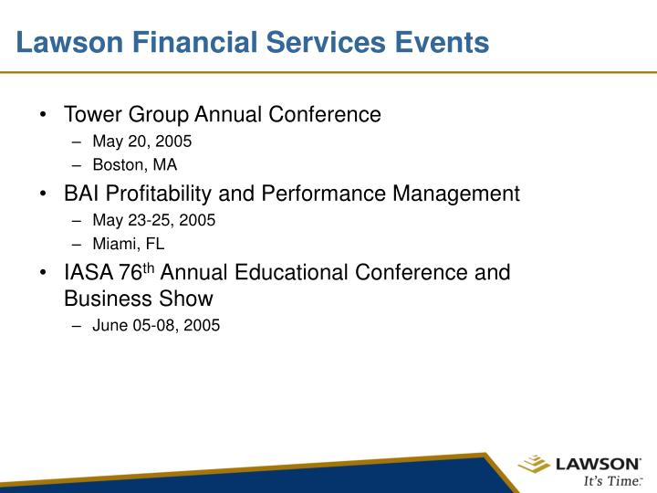 Lawson Financial Services Events