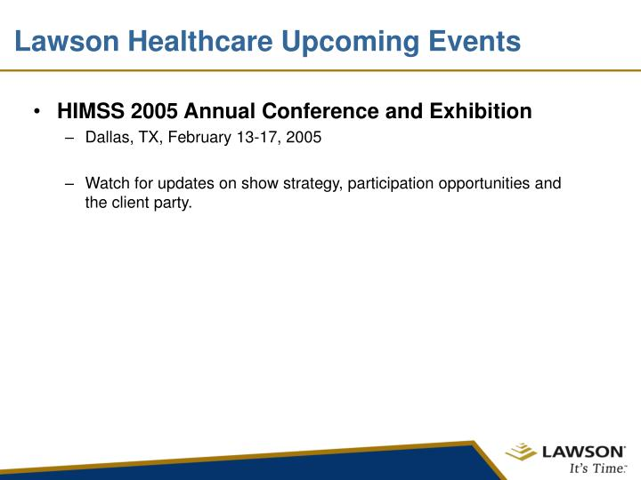 Lawson Healthcare Upcoming Events