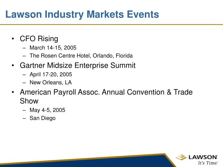 Lawson Industry Markets Events
