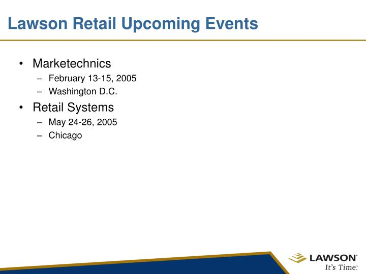 Lawson Retail Upcoming Events