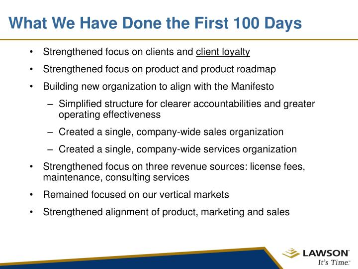 What We Have Done the First 100 Days