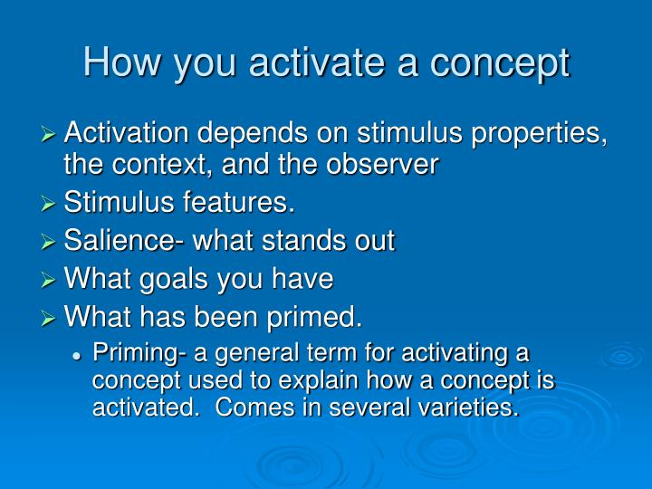 How you activate a concept
