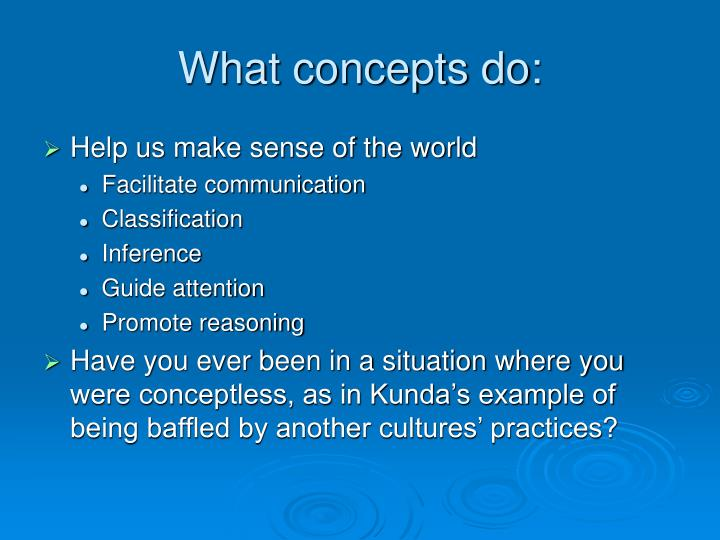 What concepts do