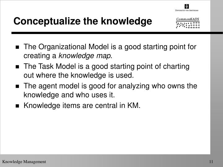 Conceptualize the knowledge