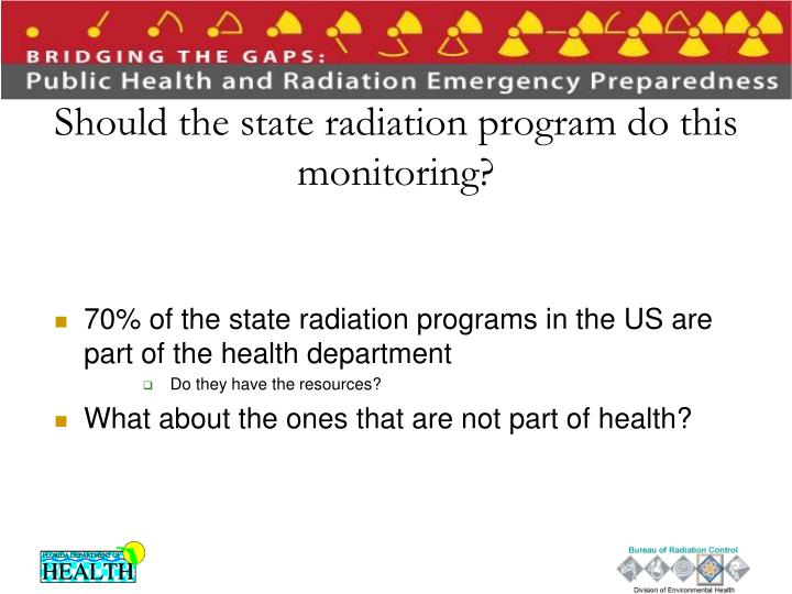 Should the state radiation program do this monitoring?
