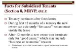 facts for subsidized tenants section 8 mrvp etc