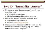 step 3 tenant files answer