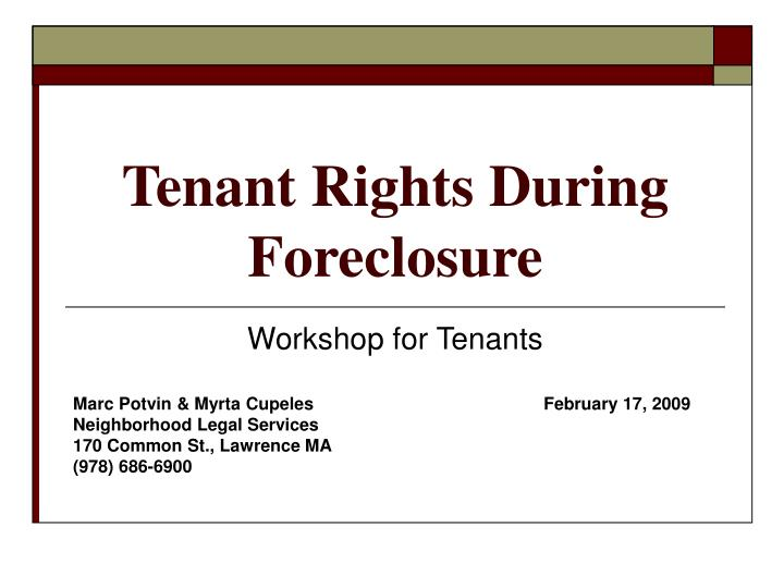 tenant rights during foreclosure n.