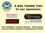 a big thank you to our sponsors