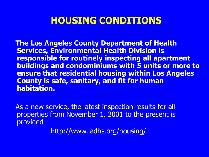 HOUSING CONDITIONS