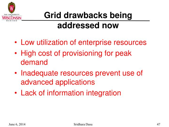 Grid drawbacks being