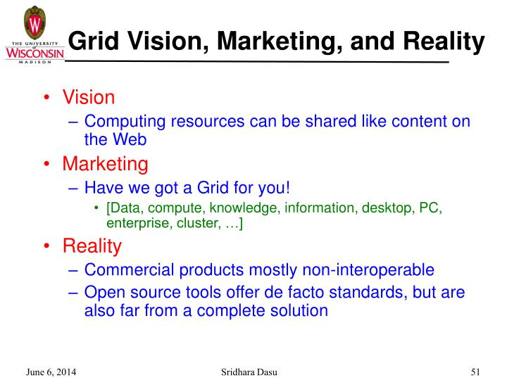 Grid Vision, Marketing, and Reality