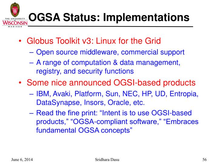 OGSA Status: Implementations