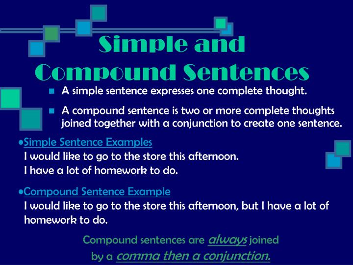 A simple sentence expresses one complete thought.