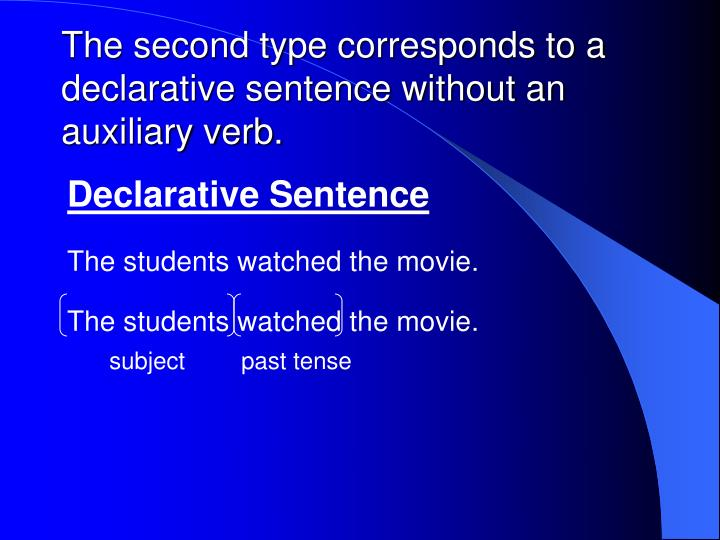 The second type corresponds to a declarative sentence without an auxiliary verb.