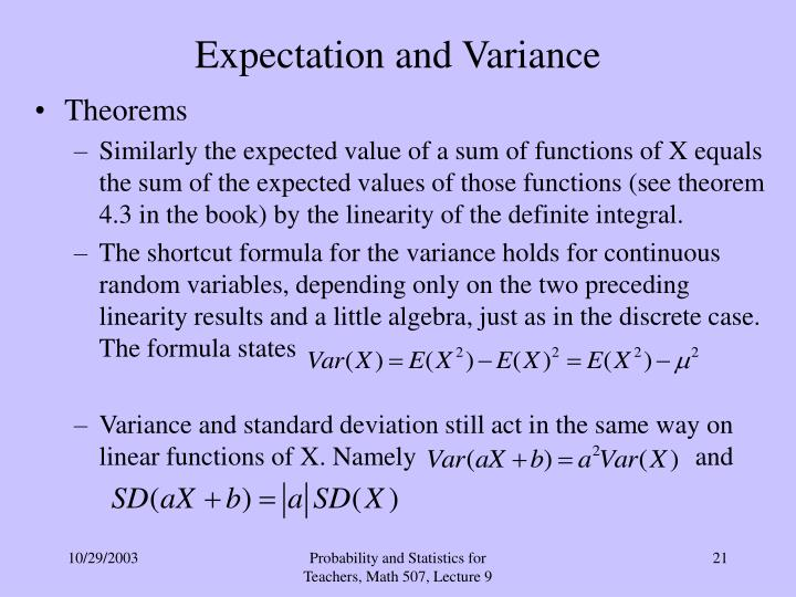 Expectation and Variance