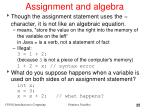 assignment and algebra