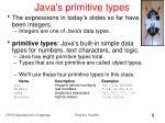 java s primitive types