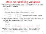 more on declaring variables
