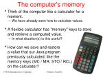 the computer s memory