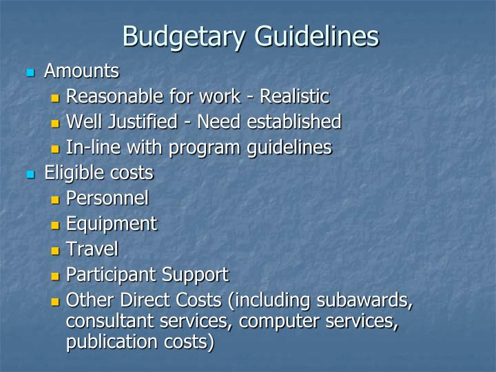 Budgetary Guidelines