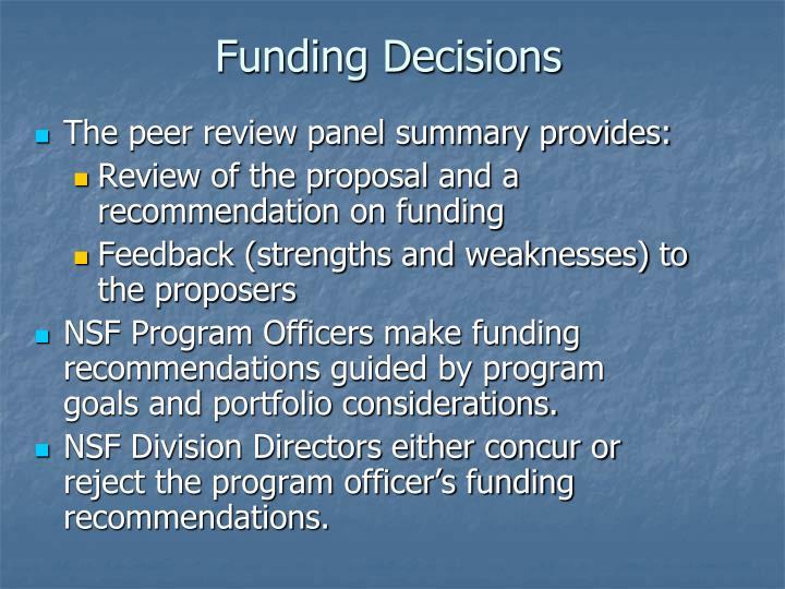 Funding Decisions