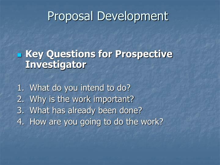 Proposal Development
